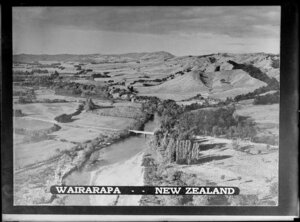 Aerial view of an unidentified river, Wairarapa
