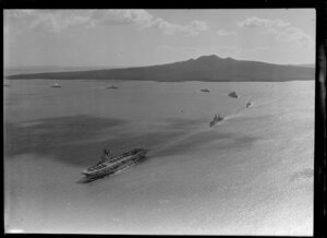 Aircraft carrier and other vessels of the combined Australian and New Zealand navies, Auckland