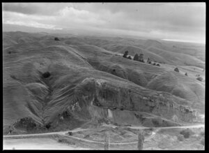 Hill being quarried and Maori trenches outside Napier