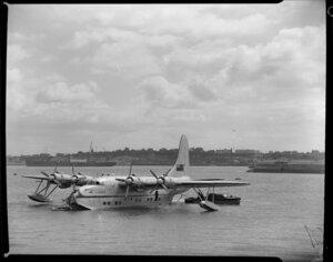Tasman Empire Airways Ltd, Solent IV flying boat, RMA Aotearoa II, ZK-AML, moored at buoy, Mechanics Bay, Auckland