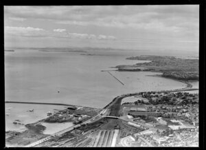 Auckland city railyards and Eastern Bays, looking toward Brown's Island, Auckland