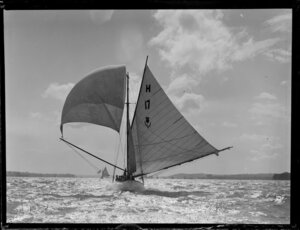 Yacht (with thistle, number 17 and character H printed on sail), Waitemata Harbour, Auckland Region