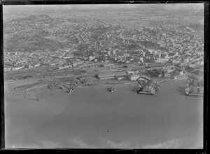 Auckland city showing wharves and railway yards