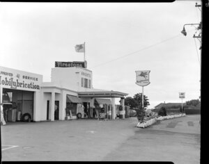 Knight's Service Station with Mobil and Plume petrol signs, Great South Road, Otahuhu, Auckland