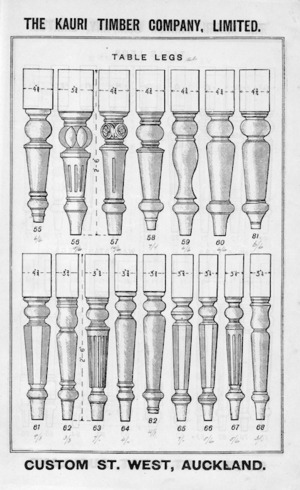 The Kauri Timber Company Ltd (Auckland Office) :Table legs. [Catalogue page. ca 1906].