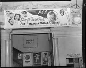 Pan American World Airways display, His Majesty's Theatre entrance