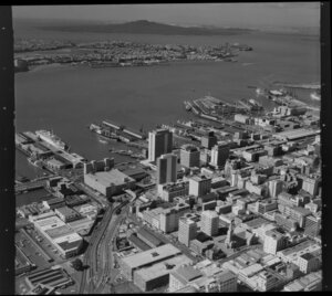Central Auckland looking towards Devonport, including Princes Wharf, Ferry Terminal, Port, Lower Hobson Street, Rangitoto Island and Waitemata Harbour