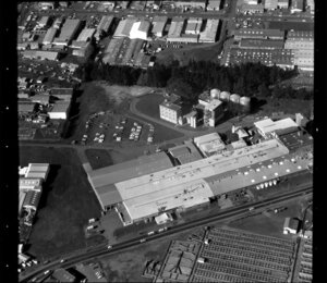 Unidentified factories and stockyards [Westfield Freezing Works?] in industrial area, Manukau City, Auckland