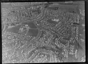 Mangere, Manukau City, Auckland, including residential houses, school buildings and sports fields