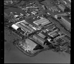 Unidentified factories in industrial area, Manukau City, Auckland, including [Mangere Inlet?]