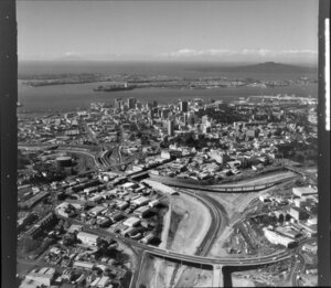 Auckland motorway construction, Newton, with 'spaghetti junction' roads