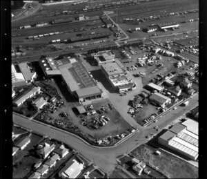 Unidentified factories in industrial area, Manukau City, Auckland, including railway yards