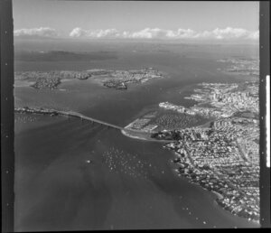Auckland Harbour Bridge with the inner harbour