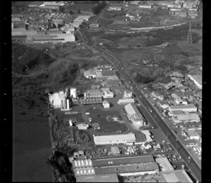 Unidentified factories in Penrose/ Otahuhu industrial area, Manukau City, Auckland, including Westfield Freezing Works