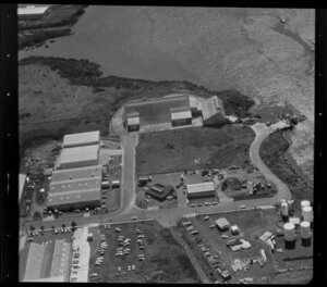 Unidentified factories, Carbine Road industrial area, Mt Wellington, Auckland, and including Tamaki River