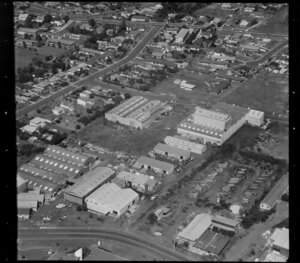 Unidentified factories, including timber yards and some residential houses, in industrial area, Auckland