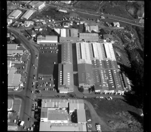 Factories and commercial buildings, including Nelmar Plastics, in industrial area, Manukau City, Auckland