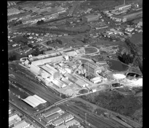 Unidentified [limestone?] factory in industrial area, Manukau City, Auckland