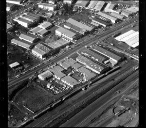 Factories, including Honda, in industrial area, Manukau City, Auckland, also including railway lines