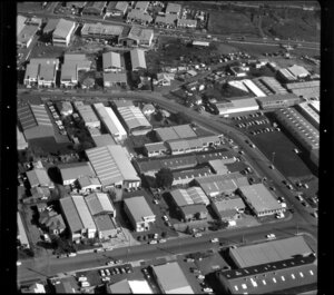 Factories and commercial buildings, including Nelmar Plastics and Borts, in industrial area, Manukau City, Auckland
