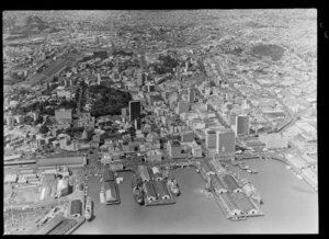 Auckland, featuring wharves and city buildings