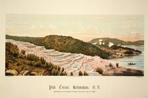 Willis, Archibald Duddington (Firm) :Pink Terrace, Rotomahana, N.Z. W. Potts, lith; C. Spencer, photo. Wanganui; A.D. Willis [1889]