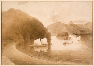 [Heaphy, Charles] 1820-1881 :[Castle Rock and Coromandel Harbour. 1852?]