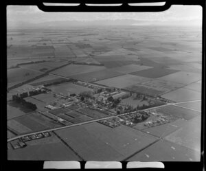 Lincoln College [Canterbury Agricultural College], Lincoln, Selwyn District, Canterbury Region, including surrounding farmland