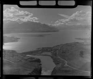 Hydro-electric power station under construction at Lake Pukaki, Mackenzie District, Canterbury Region, including Southern Alps