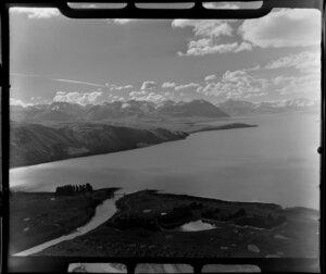 Lake Tekapo, Mackenzie District, Canterbury Region, including Southern Alps and Tekapo River mouth