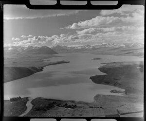 Lake Tekapo and mouth of the Tekapo River, Mackenzie District, Canterbury Region, including Southern Alps