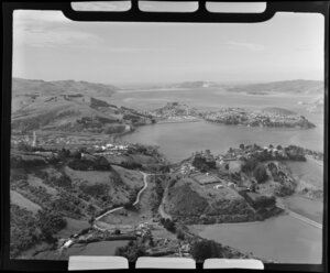 View of Port Chalmers, Dunedin City, with Roseneath in the foreground, and Dunedin-Port Chalmers Road, looking north to Otago Peninsula and Heads beyond