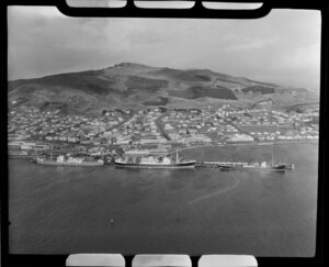 Bluff, Southland, showing housing and ships in the harbour