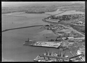 Import wharf under construction, Auckland