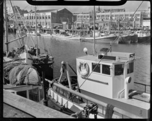Auckland waterfront, showing fishing boats alongside wharf