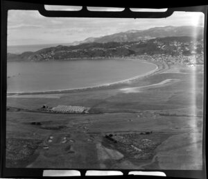 Lyall Bay, Wellington, showing beach and houses