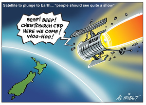 """Nisbet, Alistair, 1958-:Satellite to plunge to earth...""""People should see quite a show."""" 22 September 2011"""