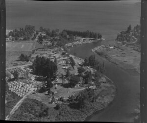 Taupo, showing camping grounds and boats