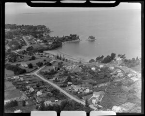 Torbay, East Coast Bays, Auckland, showing Waiake Bay and Beach Road