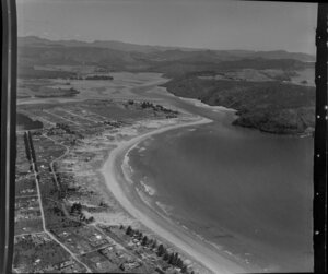 Whangamata, Thames-Coromandel District, showing harbour, township and inlet