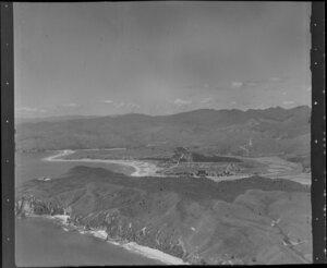 Whangamata, Thames-Coromandel District, showing hills and coastline