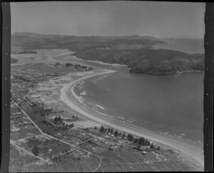 Whangamata, Thames-Coromandel District, showing Harbour and looking towards Te Karaka Point