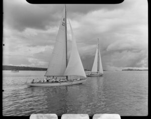 Auckland Anniversary Regatta, Auckland Harbour, showing two sailing boats