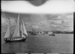 Auckland Anniversary Regatta, Auckland Harbour, showing sailing boats and other larger boats