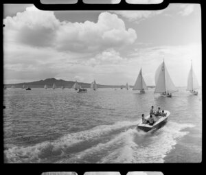 Auckland Anniversary Regatta, Auckland Harbour, showing sailing boats and speed boat
