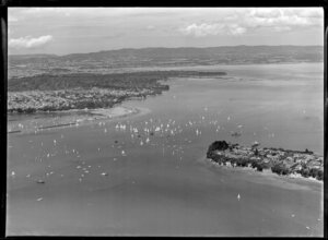 Yachting Regatta, Okahu Bay, Auckland, showing yachts, boats and residential area
