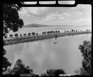 Waterfront Road, Parnell, Auckland, showing Rangitoto Island in the distance