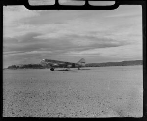 New Zealand National Airways Corporation (NAC) DC3 aircraft at Hokitika Aerodrome