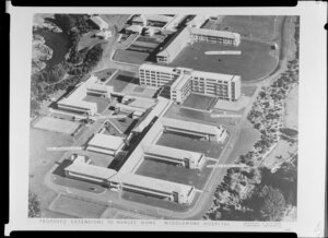 Proposed extensions to nurses home at Middlemore Hospital, Auckland, designed by Orchard and Allison