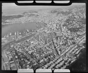Thorndon, Wellington, showing city, railways and shipping